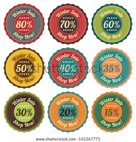 Promotional Sale Labels Set, Colorful  Vintage Style Winter Sale 15-80 Percent Icon, Tag, Sticker, Badge, Label or Stamp Isolated on White Background