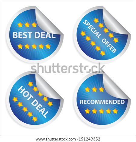 Promotional Sale Labels Set, Present By Blue Glossy Style Label With Best Deal, Special Offer, Hot Deal and Recommended Text Isolated on White Background