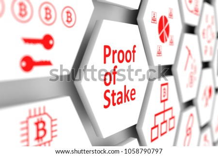 Proof of Stake concept cell blurred background 3d illustration
