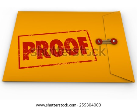 Proof word stamped on a yellow envelope containing documents as evidence or testimony in a court case or other dispute Сток-фото ©