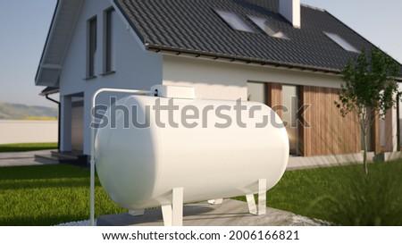 Propane Gas Tank near house, 3d illustration Stock foto ©