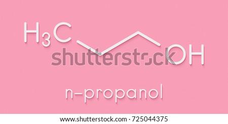Propanol (n-propanol) solvent molecule. Skeletal formula.