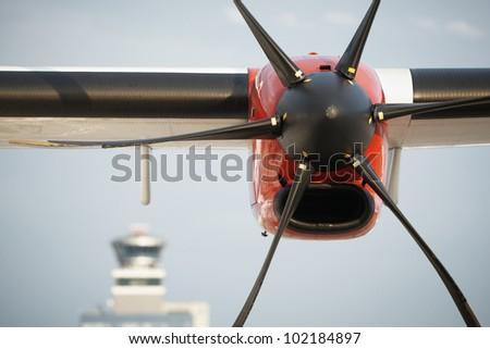Propeller airplane at the airport, Prague, Czech Republic