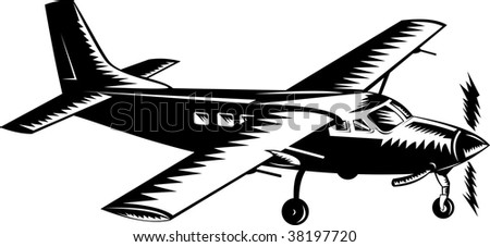 Propeller airplane woodcut style