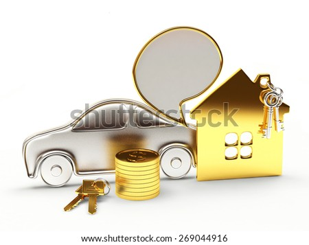 Property concept. Car, house and money with speech bubble isolated on white background