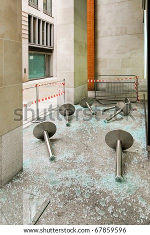 Property destruction with lot of broken glass