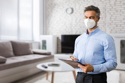 Property Inspection And Real Estate Interior Appraisal In Face Mask