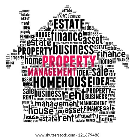 Property Management in word collage composed in house shape