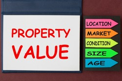 Property Value written on notebook and arrows. Business concept.