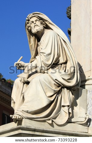 Prophet Isaiah (Isaias) statue in Rome, Italy. Famous Spanish Square (Piazza di Spagna). - stock photo