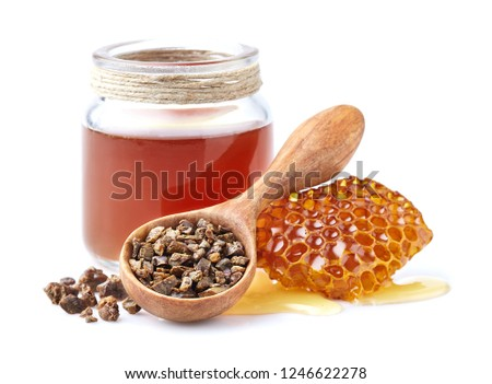 Propolis tincture with honeycomb. Propolis granules. Antiseptic