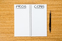 pros cons concept abstract background