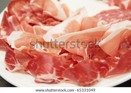 Prosciutto ham on plate - Italian food staple