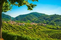 Prosecco Hills, vineyards and Guia village. Unesco Site. Valdobbiadene, Treviso, Veneto, Italy, Europe.
