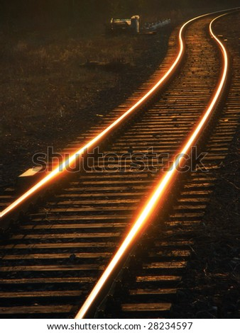 Prospect of a railroad tracks / rails coiling a zigzag
