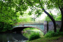 Prospect Park Brooklyn, Historic Lullwater Bridge on a summer day.