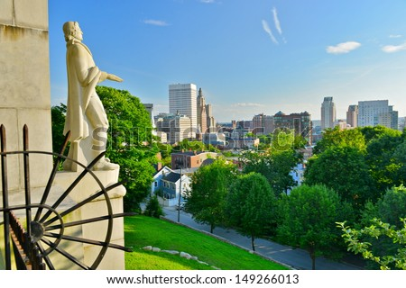 Prospect Terrace Park view of the Providence skyline and Roger Williams statue, Providence, Rhode Island, USA
