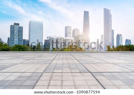 Prospects for the empty square floor tiles of Guangzhou urban complex. #1090877594