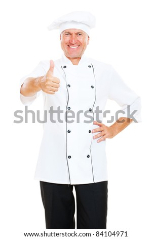 prosperous chef showing thumbs up. isolated on white background