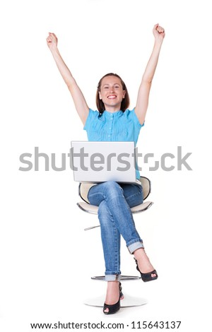 prosperous girl raising hands up and smiling. studio shot over white background