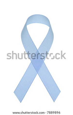 Prostate cancer awareness ribbon isolated on a white background.