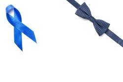 Prostate care. Awareness prostate cancer of men health in November. Blue ribbon, fashion bowtie isolated on white background. World cancer day and world diabetes day concept.