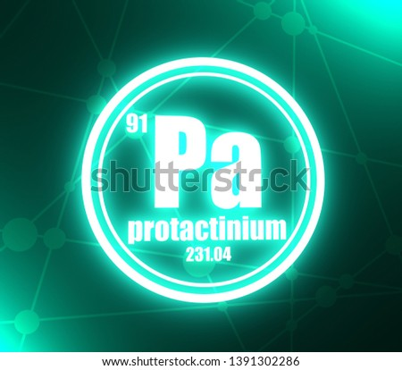 Protactinium chemical element. Sign with atomic number and atomic weight. Chemical element of periodic table. Molecule and communication background. Connected lines with dots. 3D rendering