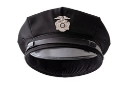 Protect and serve, law enforcement and american cop concept police officer hat isolated on white background with clipping path