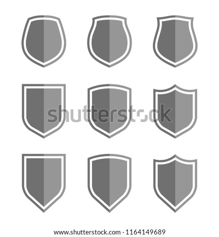 Protect guard shield plain line concept. Outline shield badge. Safety icon set. Privacy banner kit. Security label. Flat style protect sticker symbol shape. Safeguard simple sign linear pictogram