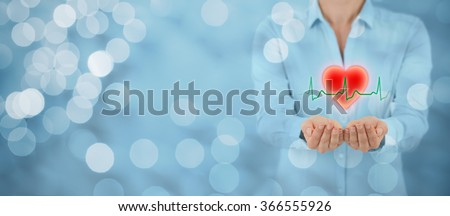 Protect health (healthcare) and heart problems prevention (cardiology) concept. Cardiologist with protective gesture and symbol of heart and ECG heartbeat, wide banner with bokeh in background.