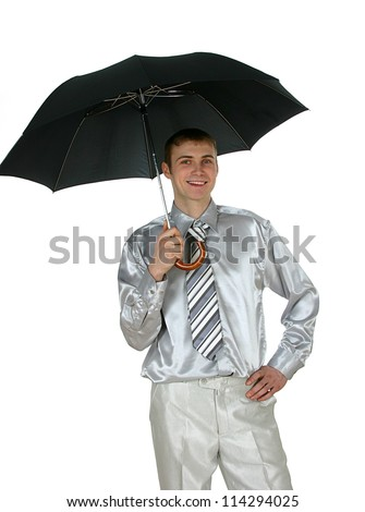 Protect your business! Close up of the businessman under black umbrella.