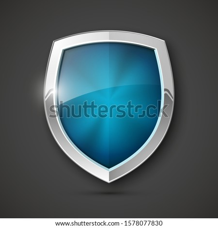 Protected steel guard shield concept. Safety badge steel icon. Privacy metal banner shield. Security metal label. Defense tag. Presentation chrome sticker shape. Defense safeguard shield steel sign