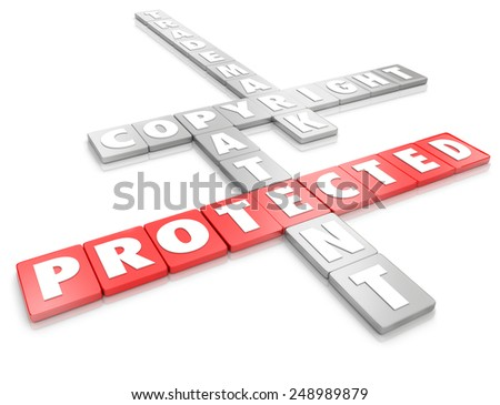 Protected word on letter tiles and terms for legal protection including copyright, trademark and patent