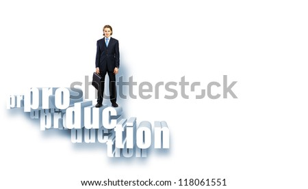 Protecting a good investment and making money concept - businessman hands with word Production - stock photo