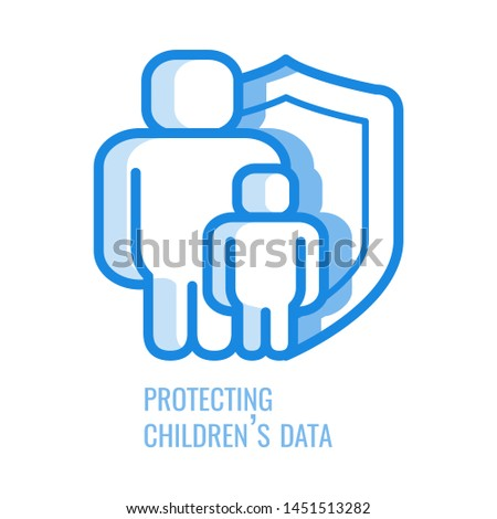 Protecting children data line icon - thin outline symbol of abstract silhouette of man and kid protected with shield in blue outline illustration isolated on white background, gdpr concept.