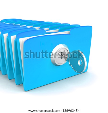 Protecting the Data, folder and lock. computer folder with files and keys on a white background. 3d illustration. Business concept and security concept