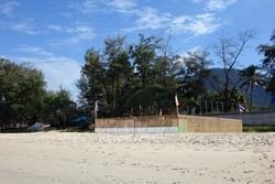 Protection and surveilance enclosure for sea turtle eggs on the beach. Leatherback sea turtle eggs nest protection on Kata beach, Phuket Thailand