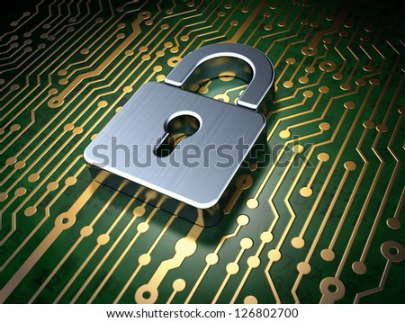 Protection concept: circuit board with Closed Padlock icon, 3d render