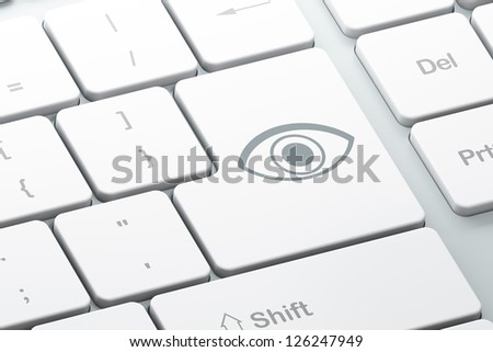 Protection concept: Enter button with Eye on computer keyboard, 3d render