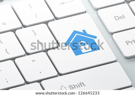 Protection concept: Enter button with Home on computer keyboard, 3d render