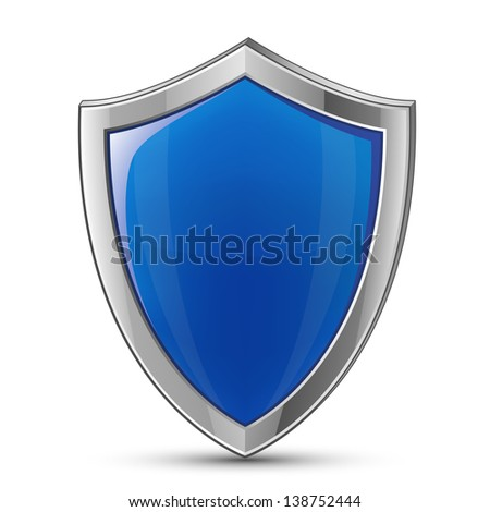 Protection concept. Illustration of blue glossy shield. Raster version