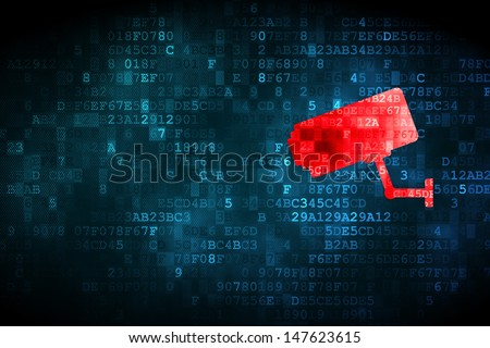Protection concept: pixelated Cctv Camera icon on digital background, empty copyspace for card, text, advertising, 3d render
