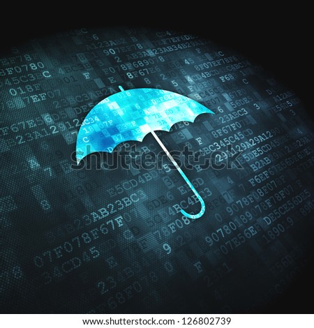 Protection concept: pixelated Umbrella icon on digital background, 3d render