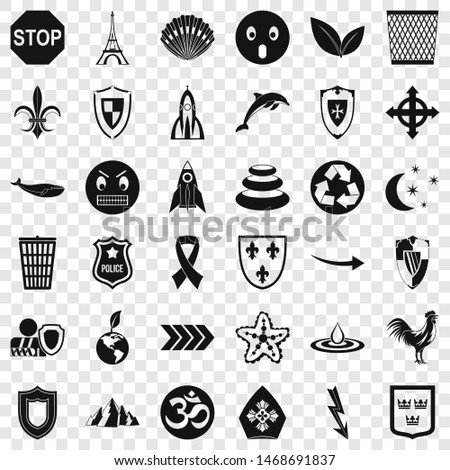 Protection emblem icons set. Simple style of 36 protection emblem icons for web for any design
