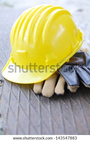 Protection equipment. Safety gear kit - copy space