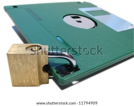 Protection of data. Information safety. A diskette on the lock