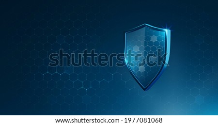 Protection safe shield or safety guard virus defense on secure background with insurance medical concept. 3D rendering.