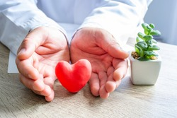 Protection, treatment, prevention and patronage health of heart and cardiovascular system against diseases and pathologies concept photo. Doctor surrounded heart shape with his hands on his desk