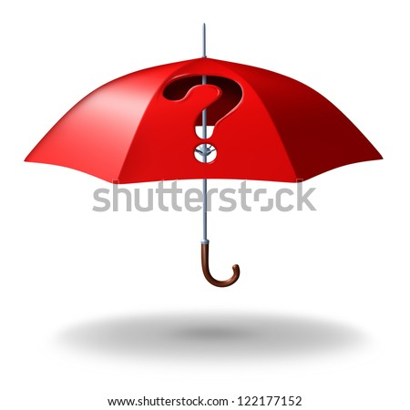 Protection uncertainty and risk with a red umbrella with a hole through it in the shape of a question mark as a stress symbol of home or life security challenges in terms of coverage doubts.