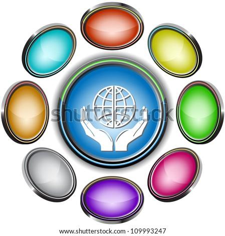 Protection world. Internet icons. Raster illustration. - stock photo